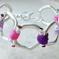 Spring 2014 Collection Silver Ring Bracelet with Pink Tone Cords
