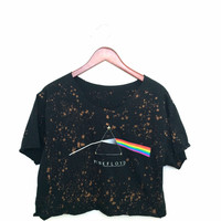 Pink Floyd Crop Top Tshirt in Acid Wash. With studs.