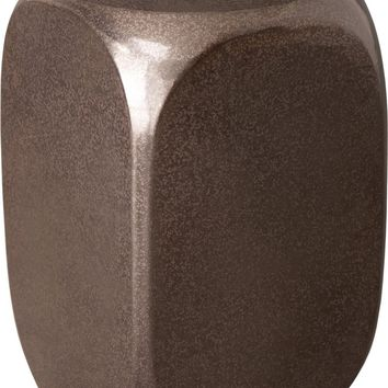Large Dice Garden Stool/Table With A Gunmetal Glaze