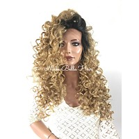 Ombre'  Dark Ash Blond Waves lace front wig 24'