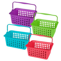 Bulk Bright Rectangular Plastic Baskets with Hinged Handles at DollarTree.com