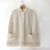 25% OFF STOREWIDE! vintage natural white poncho. fringe sweater jacket.