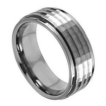 Titanium Stepped Down Edge Hammered Center Mens/Womens Wedding Band Ring (8mm): Size  10