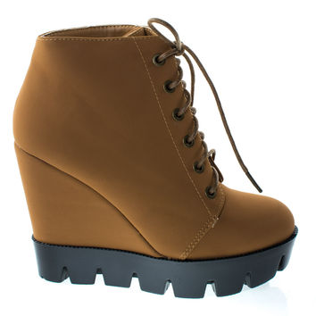 Tense10 Chestnut By Bamboo, Women Faux Fur Lining Combat Ankle Boots, Hidden Wedge Lug Threaded Sole