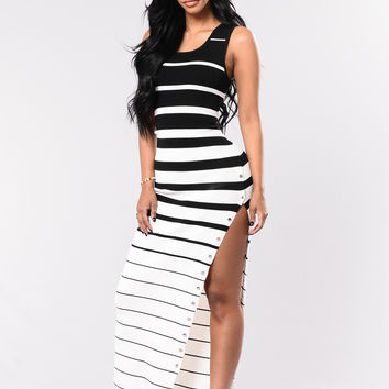 Stripe It Out Dress - Black/White
