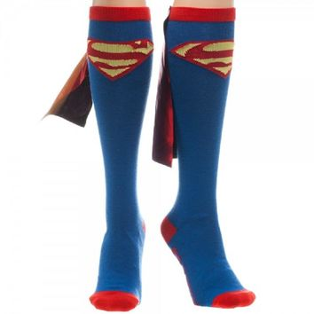 Superman Knee High Socks With Shiny Capes