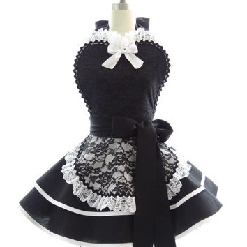 Retro Apron - French Maid Sexy Womans Aprons - Vintage Apron Style - French Maid Pin up Bridal Lace Rockabilly Cosplay Costume
