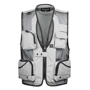 Summer Thin Mesh Vest For Men XL-5XL Casual Photographer Work Outerwear Varsity Multi Pocket Waistcoat Male Sleeveless Jacket