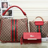 GUCCI Women Leather Tote Clutch Bag Handbag Shoulder Bag Set Three Piece