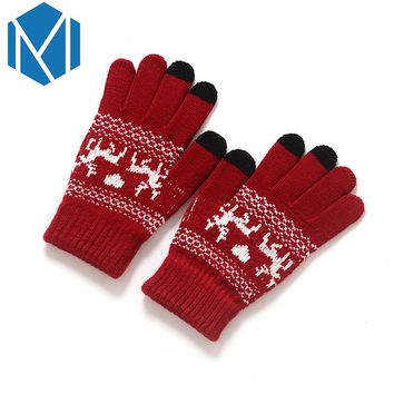 Fashion Women Winter Stretchy Knitted Mittens Warm Gloves Girls Crochet Covered Finger Soft Glove Soft Christmas Screen Luvas
