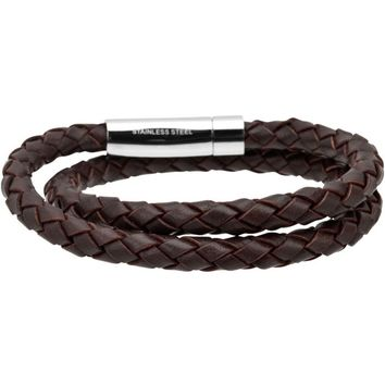Inox Jewelry Men's 316L Stainless Steel Double Strand Brown Braided Leather Bracelet
