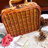 Let's Go Picnic Retro Suitcase Brown