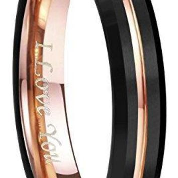 "4mm 6mm 8mm 10mm Rose Gold Groove Black Matte Finish Tungsten Carbide Wedding Band Ring Engraved ""I Love You"" Size 4 To 17"