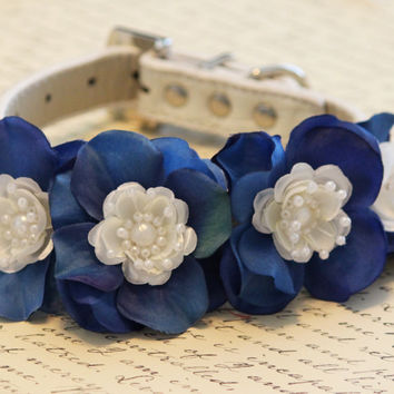 Blue Floral Dog Collar,  High Quality Collar - Wedding dog accessory, Some thing blue, Blue Touch