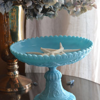 French Portieux Vallerysthal Milk Glass Pedestal Compote Dish