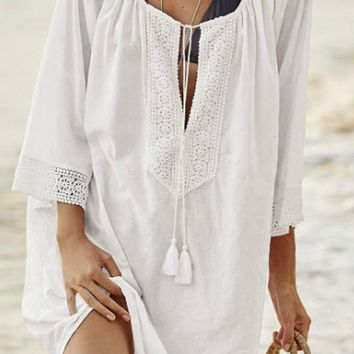 Scoop Neck Lightweight Multi-Way Plain Bell Sleeve Tunic