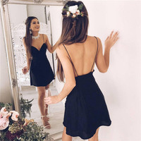 Women's Fashion Hot Sale Summer Spaghetti Strap V-neck Backless One Piece Dress [11705959823]