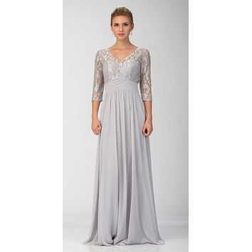 CLEARANCE - Mid-Length Sleeves V-Neck Long Formal Dress Silver (Size 2XL)
