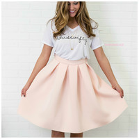 SZ LARGE Last First Kiss Blush Pleated Skirt