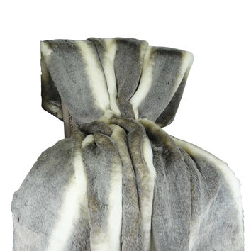 Plutus Tissavel Chinchilla Faux Fur Handmade Throw / Blanket