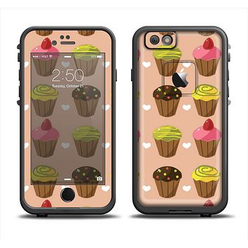 The Brown, Pink and Yellow Cupcake Collage Apple iPhone 6 LifeProof Fre Case Skin Set