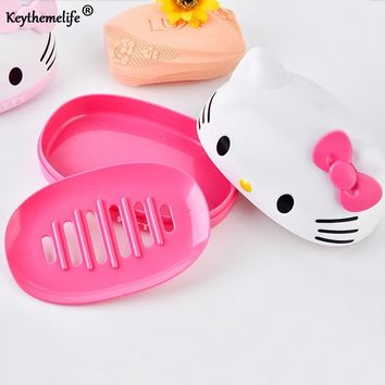 Keythemelife Hello Kitty/Doraemon/Chick Soap Holder Plastic Soap Dish Plate Soap Box Bathroom Accessories BA