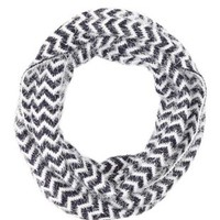 Fuzzy Chevron Print Infinity Scarf by Charlotte Russe - Navy Combo