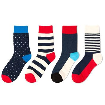 Spring Summer High Quality Korean Fashion Comfortable Fringe Combed Cotton Causal Stripe Spell Color Men Happy Socks Woman