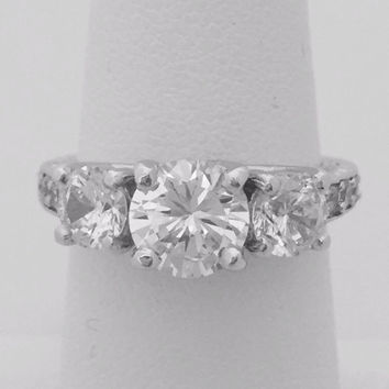 Cubic Zirconia 2 Carat Engagement Ring - Three Stone (Past Present Future) Silver Setting by CZ Sparkle Jewelry®