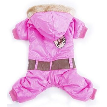 Lesypet® Snowsuit Dogs Winter Coat Dog Winter Apparel --Pink Large by Lesypet - Walmart.com