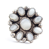 Vintage Sterling Silver Mother of Pearl Ring - Size 6 1/2 Statement Flower Native American Jewelry / Petit Point