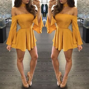 Yellow Ruffle Pleated Boat Neck Long Sleeve Fashion Mini Dress