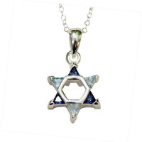 "Silver Star of David with Multi Blue  Color Stones Necklace - Chain 18"" Pendant 1/2""W X 1""H"