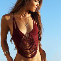 Hot New Arrival Summer Swimsuit Sexy Handcrafts Hollow Out Tassels Beach Swimwear Wine Red Cotton Set Bikini [6033382337]