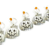 Pumpkin Charmed Stitch Marker Set | Beaded Stitchmarker | Knitting Stitch Marker | Knitting Gift | Pumpkin Halloween; orange bead | #S032
