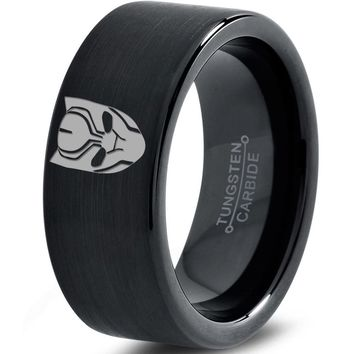 Black Panther Inspired Black Tungsten Ring