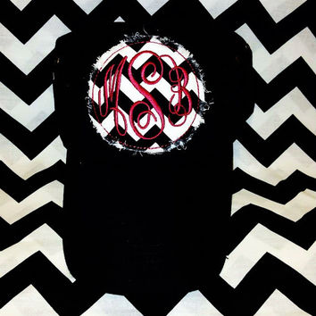 Black and Garnet Chevron Monogrammed Ladies Hat