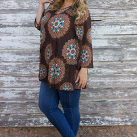 Breaking Free Mandala Print Tunic With Criss Cross Neck ~ Chocolate ~ Sizes 12-18