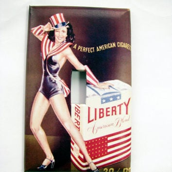Light Switch Cover - Light Switch Plate Libery Pin Up Girl Vintage Cigarette Ad