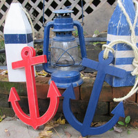 Reclaimed wood. Set of 2 Wooden Anchors. Stripped Anchors. Beach Decor. Nautical Decor. Home Decor. Made to Order