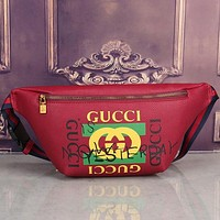Gucci Women Leather Purse Waist Bag Single-Shoulder Bag Crossbody Red G