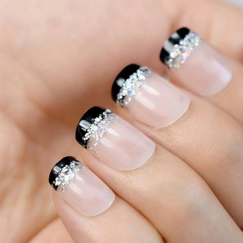 Nude Pink French False Nails Tips Black French with Laser Holo Glitter Full Cover Fake Nail Manicure ABS Artificial UV Nails