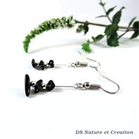 Gemstone earrings, black tourmaline jewelry, dangle silver earrings, gem stone jewelry, natural tourmaline earrings, black stone earring vyc