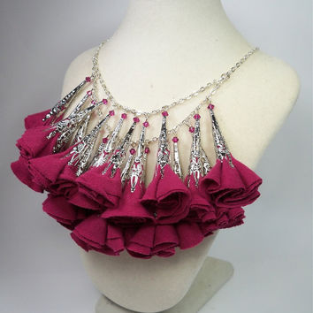 Pretty in PInk Fabric Flower Necklace by DesignTheory on Etsy