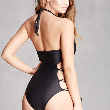 Crisscross Lace-Up Swimsuit