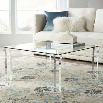 """Bristol 36"""" Square Clear Acrylic Coffee Table - #1G404 