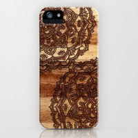 Burnt Wood Chocolate Doodle in warm neutral brown / tan tones iPhone & iPod Case by micklyn