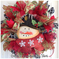Snowman Wreath - Christmas Wreath -  Holiday Wreath - Christmas Decor - Whimsical Wreath - Deco Mesh Wreath - Door Decor - Ready To Go