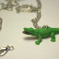 Cute Rubber Alligator Upcycle Toy Necklace