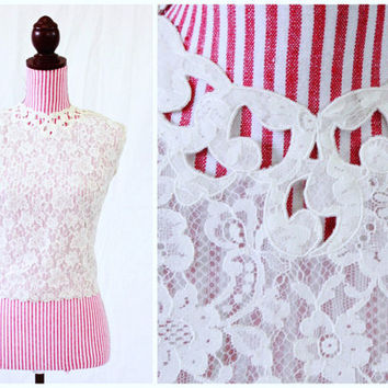 1950s Blouse / VINTAGE / 50s Blouse / Lace / Organza / Sheer / Buttons on Back / Pretty